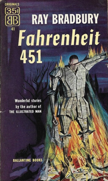 First paperback edition of Fahrenheit 451. Cover illustration by Joe Mugnaini