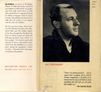 Back cover of the first hardcover edition of Fahrenheit 451. Cover illustration by Joe Mugnaini