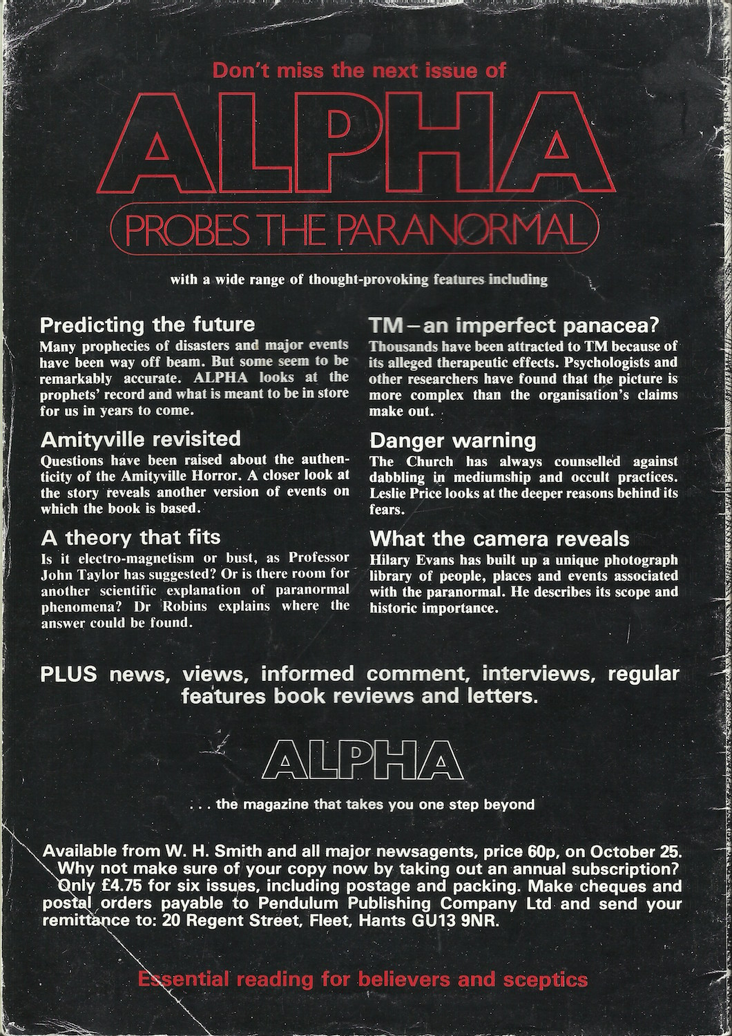 One Step Beyond: 'Alpha: Probing the Paranormal', 1979 – 1980