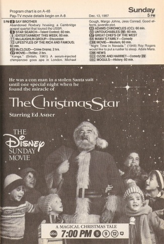 Ed Asner in The Christmas Star, early in Disney and ABC's corporate relationship: Disney would gobble up ABC in 1996.