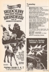 Rudolph the Red-Nosed Reindeer was a holiday institution by this point. Local independent channel 56 brings the 1986 World Champion Boston Celtics into millions of New England homes.