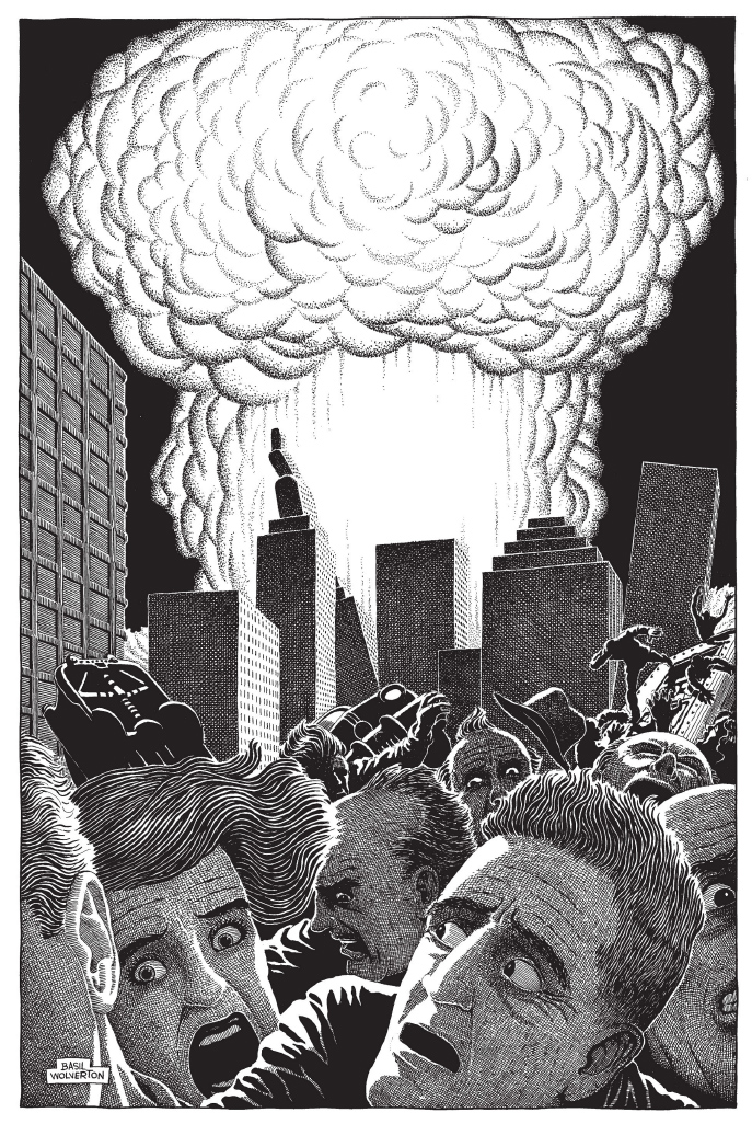 "Original caption from The Plain Truth, October, 1954: ""The only warning of the hydrogen and cobalt bombs will be a blinding flash. Buildings, cars, people - everything - will be abruptly vaporized! Atomic warfare will climax the present round of wars and rumors of wars (Rev. 6:3-4) and suddenly bring about the prophesied ""Great Tribulation"" (Rev. 6:9-11)"""
