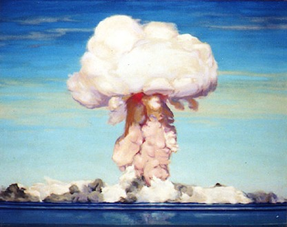 The First Bomb at Bikini, Charles Bittinger, 1946 - Captured at the peak of formation, this painting illustrates the classic mushroom cloud shape. The pink color of the cloud is due to the oxidation of nitrogen caused by high heat and radiation from the explosion. The rapidly cooling fireball is the cause of the red glow seen deep within the cloud. The blast wave created the massive waves and steam that engulfed the target fleet at the bottom.