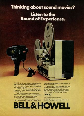 bell and howell movie camera and projector ad 1976