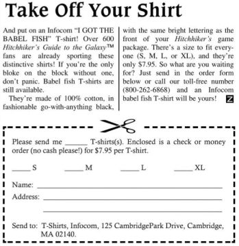 babel fish t-shirt ad infocom new zork times fall 1985