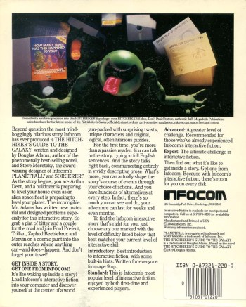 back cover hhgttg infocom 1984
